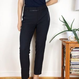 Vince Gray Stretch Wool Pants Faux Leather Piped